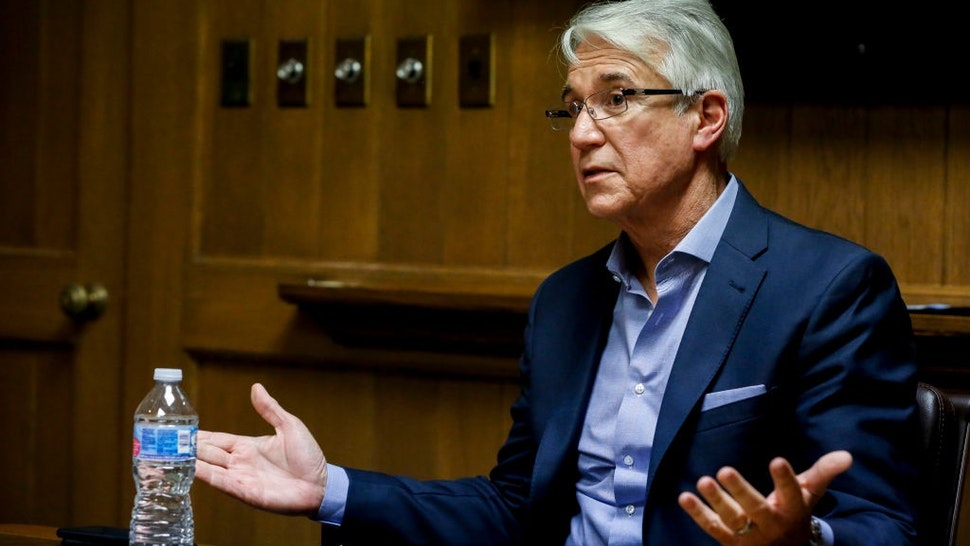 District Attorney George Gascon speaks to reporters during an editorial board meeting at the San Francisco Chronicle board room Wednesday, July 10, 2019, in San Francisco, Calif.