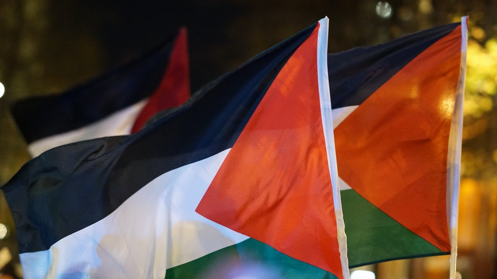 Close-Up Of Palestinian Flags At Night - stock photo