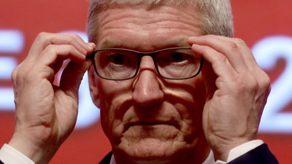 Apple CEO Tim Cook attends the Economic Summit held for the China Development Forum in Beijing on March 23, 2019.