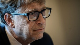 """US Microsoft founder, Co-Chairman of the Bill & Melinda Gates Foundation, Bill Gates, takes part in a conference call on October 9, 2019, in Lyon, central eastern France, during the funding conference of Global Fund to Fight AIDS, Tuberculosis and Malaria. - The Global Fund to Fight AIDS, Tuberculosis and Malaria on October 9, 2019, opened a drive to raise $14 billion to fight a global epidemics but face an uphill battle in the face of donor fatigue. The fund has asked for $14 billion, an amount it says would help save 16 million lives, avert """"234 million infections"""" and place the world back on track to meet the UN objective of ending the epidemics of HIV/AIDS, tuberculosis and malaria within 10 years."""