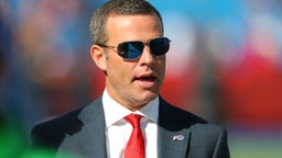 ORCHARD PARK, NY - OCTOBER 20: Buffalo Bills general manager Brandon Beane on the field before a game against the Miami Dolphins at New Era Field on October 20, 2019 in Orchard Park, New York. Buffalo beats Miami 31 to 21. (Photo by Timothy T Ludwig/Getty Images)