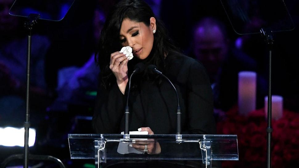 Vanessa Bryant speaks during The Celebration of Life for Kobe & Gianna Bryant at Staples Center on February 24, 2020 in Los Angeles, California.
