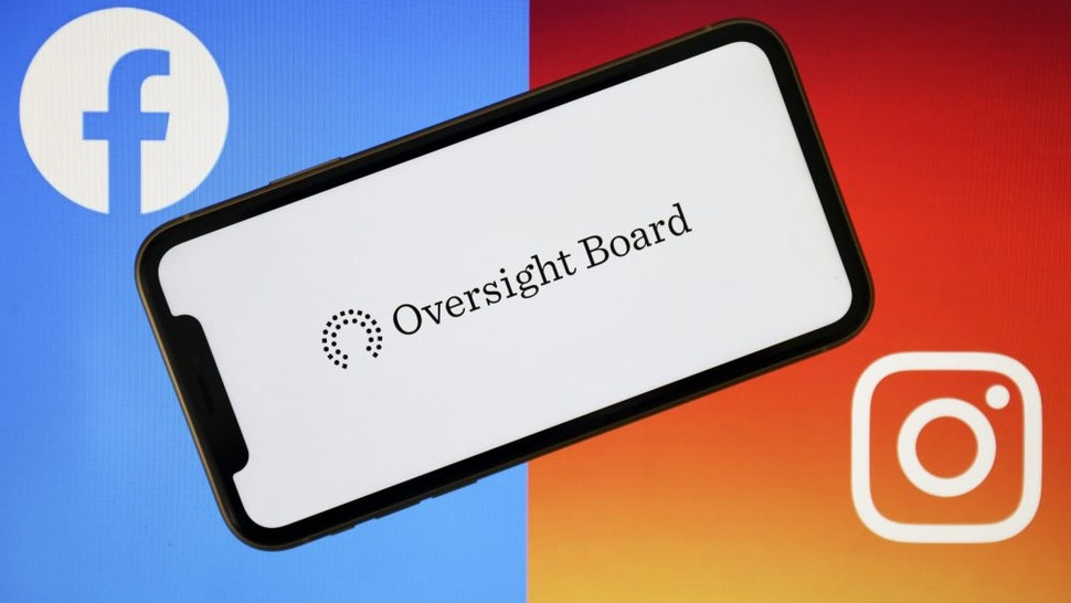 ANKARA, TURKEY - MAY 07: Oversight Board logo is seen on a smart phone with Facebook and Instagram logos at the background in Ankara, Turkey on May 07, 2020.