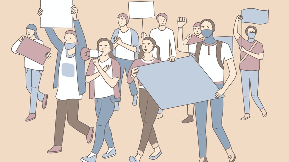 Young men and women holding banners in hands and protesting. Students activists with empty placards. Demonstration - stock vector