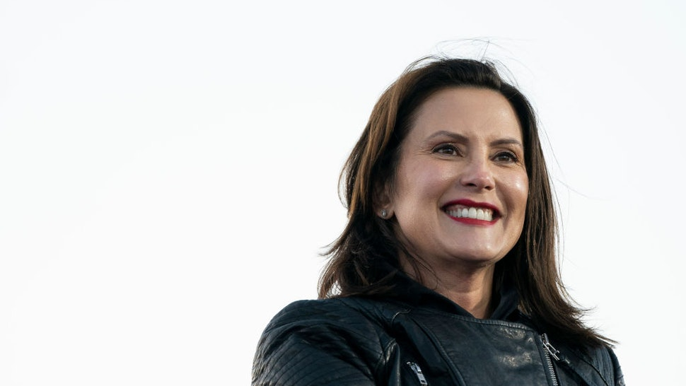 Gov. Gretchen Whitmer speaks during a drive-in campaign rally with Democratic presidential nominee Joe Biden and former President Barack Obama at Belle Isle on October 31, 2020 in Detroit, Michigan.