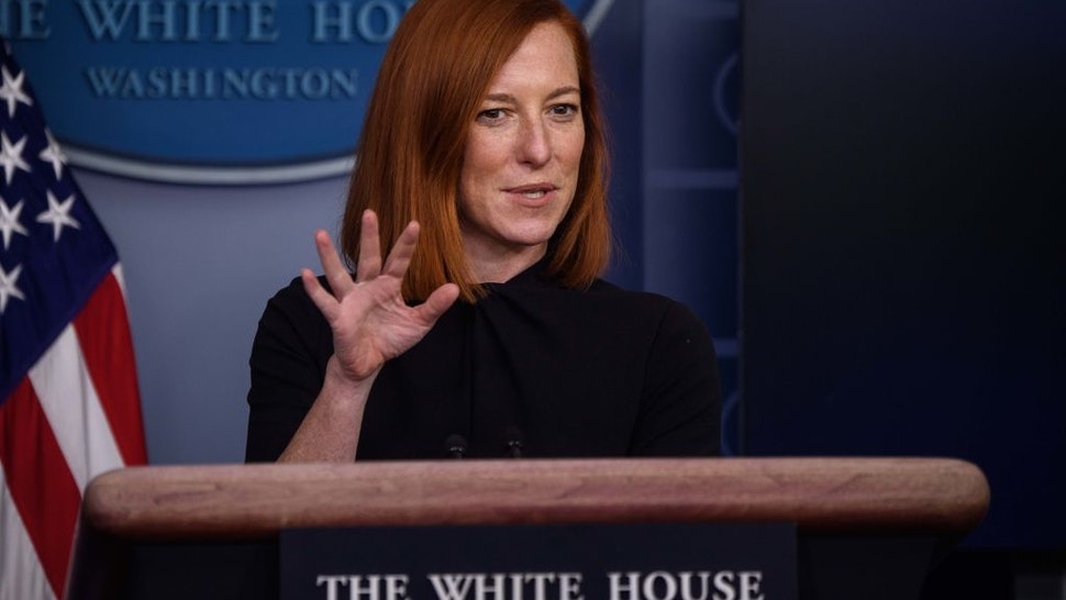 White House Press Secretary Jen Psaki speaks during a press briefing on January 22, 2021, in the Brady Briefing Room of the White House in Washington, DC. (Photo by NICHOLAS KAMM / AFP) (Photo by NICHOLAS KAMM/AFP via Getty Images)