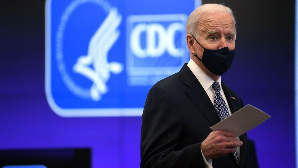 US President Joe Biden speaks as he tours the Centers for Disease Control and Prevention in Atlanta, Georgia, on March 19, 2021. (Photo by Eric BARADAT / AFP) (Photo by ERIC BARADAT/AFP via Getty Images)