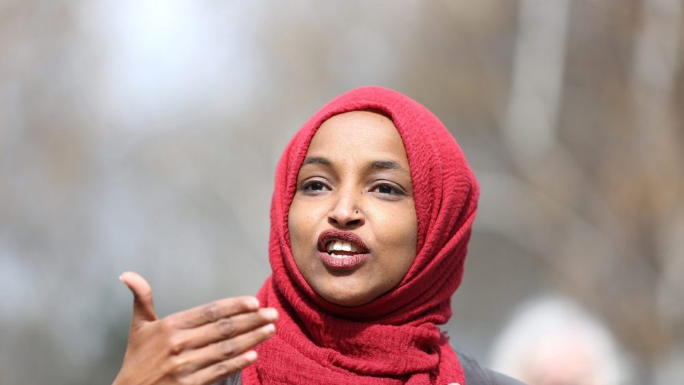 Representative Ilhan Omar, a Democrat from Minnesota, speaks during a press conference near the site of Daunte Wright's death in Brooklyn Center, Minnesota, U.S., on Tuesday, April 20, 2021. The case of the former Minneapolis police officer accused of killing George Floyd went to the jury after DerekChauvin's defense attorney said the viral video of him kneeling on Floyd's neck and back doesn't tell the entire story.