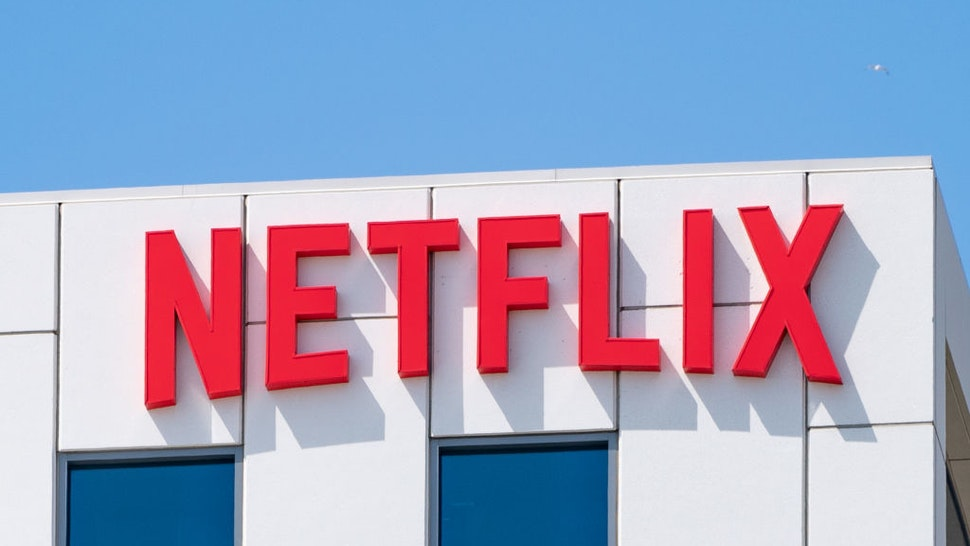 General views of the Netflix corporate office buildings on Sunset Blvd on May 06, 2021 in Hollywood, California.