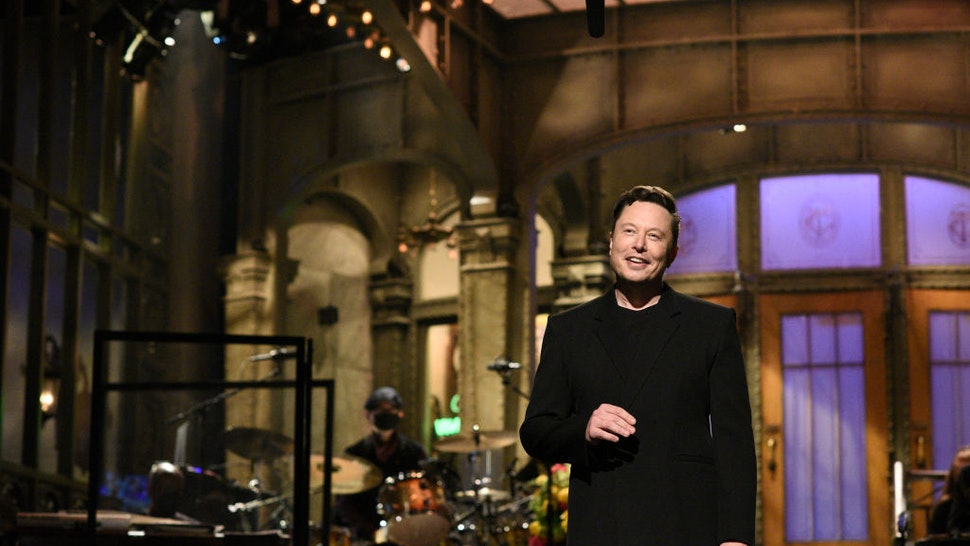 """SATURDAY NIGHT LIVE -- """"Elon Musk"""" Episode 1803 -- Pictured: Host Elon Musk during the monologue on Saturday, May 8, 2021 -- (Photo By: Will Heath/NBC/NBCU Photo Bank via Getty Images)"""