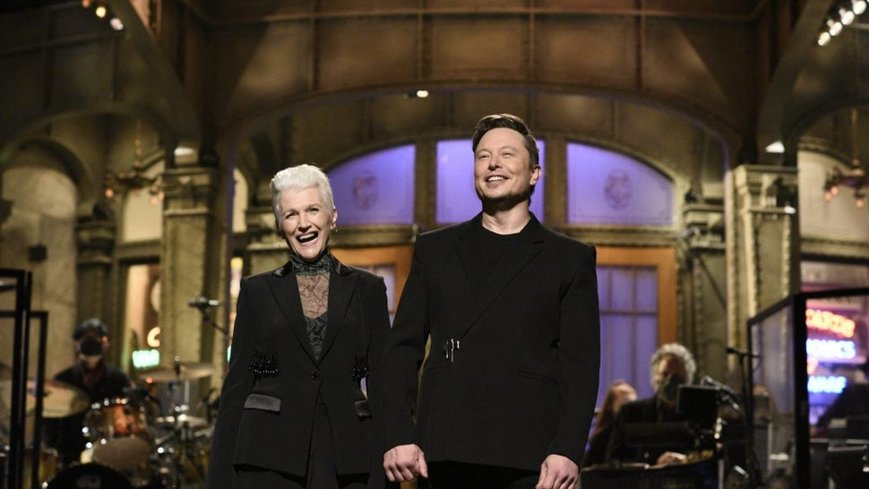 """SATURDAY NIGHT LIVE -- """"Elon Musk"""" Episode 1803 -- Pictured: Host Elon Musk with his mother Maye during the monologue on Saturday, May 8, 2021"""