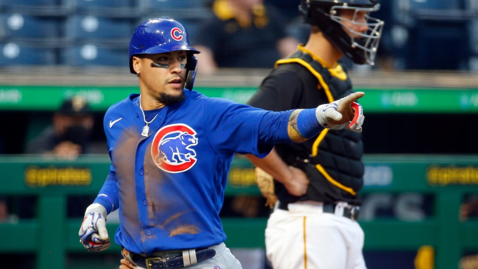 PITTSBURGH, PA - MAY 25: Javier Baez #9 of the Chicago Cubs celebrates after scoring on a RBI single in the fifth inning against the Pittsburgh Pirates at PNC Park on May 25, 2021 in Pittsburgh, Pennsylvania. (Photo by Justin K. Aller/Getty Images)