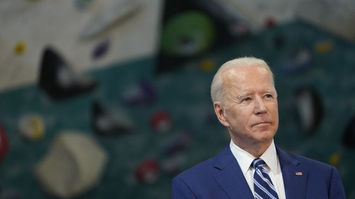 U.S. President Joe Biden pauses while speaking at Sportrock Climbing Center during an event in Alexandria, Virginia, U.S., on Friday, May 28, 2021.