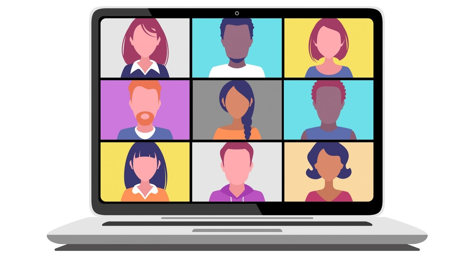 Laptop monitor with nine people in a video call. Front view isolated on a white background.