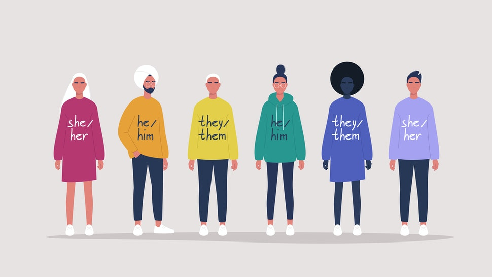 LGBT movement of young people wearing sweaters with their gender pronouns - she, he, them - stock vector