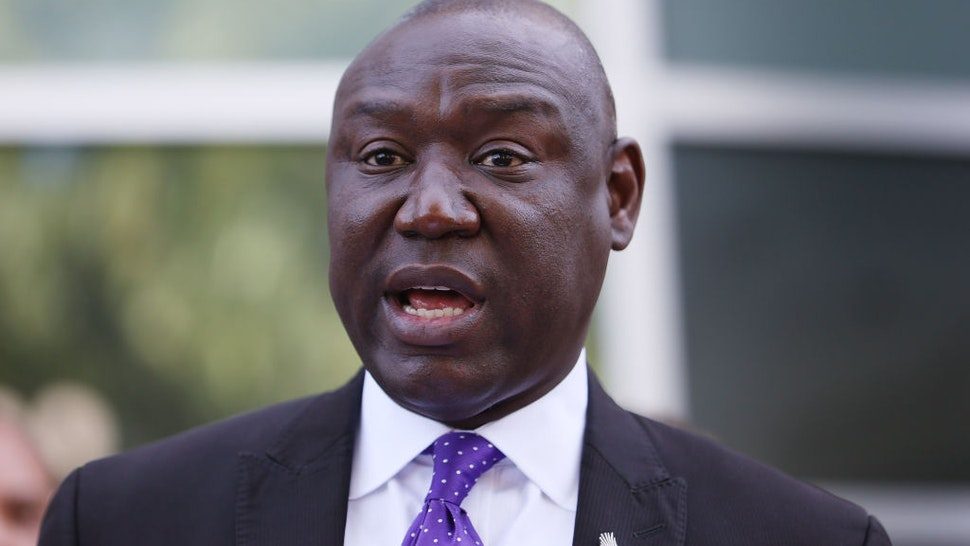 Benjamin Crump, one of the lawyers representing the family of Andrew Brown Jr., speaks during a press conference on April 27, 2021 in Elizabeth City, North Carolina.
