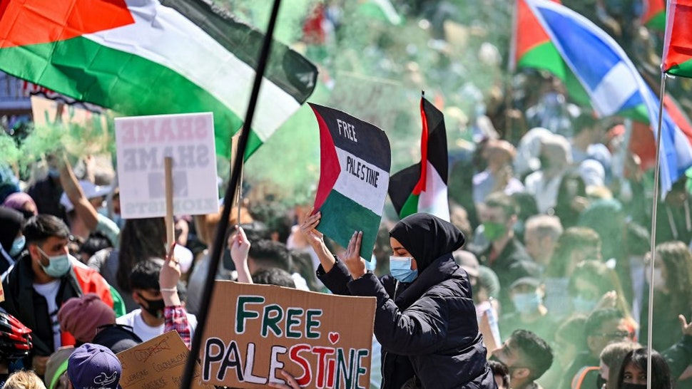 GLASGOW, SCOTLAND - MAY 16: Protestors have gathered in solidarity with the people of Palestine amid ongoing conflict in Gaza on May 16, 2021 in Glasgow, Scotland. The demonstration comes amid spiraling violence in Israel and Palestine and after yesterday's Palestinian Nakba (Catastrophe) Day, which commemorates the expulsion of Arabs from their homes in the 1948 war that forged modern Israel.