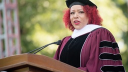 ATLANTA, GEORGIA - MAY 16: Author Nikole Hannah-Jones speaks on stage during the 137th Commencement at Morehouse College on May 16, 2021 in Atlanta, Georgia.