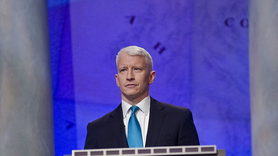 WASHINGTON, DC - APRIL 21: Anderson Cooper speaks during a rehearsal before a taping of Jeopardy! Power Players Week at DAR Constitution Hall on April 21, 2012 in Washington, DC. (Photo by Kris Connor/Getty Images)