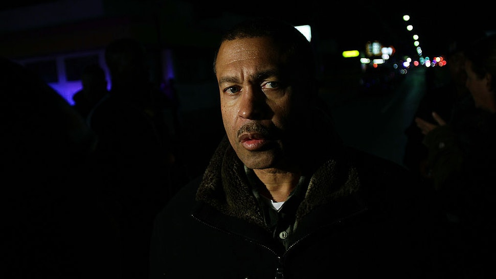 DETROIT, MI - NOVEMBER 06: Detroit Police Chief James Craig talks to reporters about a shooting outside of a barber shop where nine people were shot November 6, 2013 in Detroit, Michigan. Chief Craig confirmed that three people were killed and the suspects were still at large.