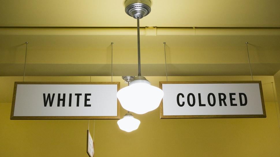 USA, Kansas, Topeka, White and Colored segregation signs - stock photo