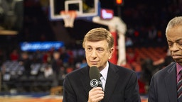 College Basketball: CBS Sports play by play announcer Marv Albert before St. John's vs Georgetown game at Madison Square Garden. New York, NY 2/28/2015 CREDIT: Porter Binks (Photo by Porter Binks /Sports Illustrated via Getty Images) (Set Number: X159305 TK1 )