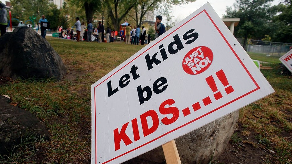 TORONTO, ON - SEPTEMBER 9 - Signage at R. V. Burgess Park next to Thorncliffe Park Public School for Day 2 of parent run schooling, September 9, 2015. Some parents have kept their children from attending the school to protest the Ontario Government's new sex-ed curriculum. Andrew Francis Wallace/Toronto Star
