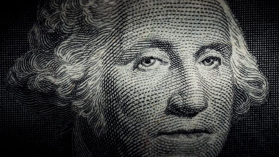 Close up photo of George Washington on One Dollar bill
