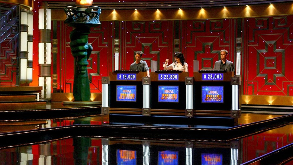 Actors James Denton, Bebe Neuwirth and Neil Patrick Harris during a rehearsal for Celebrity Jeopardy at Radio City Music Hall on October 08, 2006 in New York City.