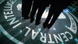 LANGLEY, VA - JULY 9: The CIA symbol is shown on the floor of CIA Headquarters, July 9, 2004 at CIA headquarters in Langley, Virginia. Earlier today the Senate Intelligence Committee released its report on the numerous failures in the CIA reporting of alleged Iraqi weapons of mass destruction.