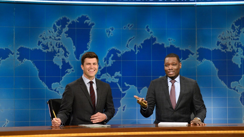 SATURDAY NIGHT LIVE: WEEKEND UPDATE -- Episode 101 -- Pictured: (l-r) Colin Jost, Michael Che from Studio 8H on August 10, 2017 -- (Photo by: Rosalind O'Connor/NBCU Photo Bank/NBCUniversal via Getty Images via Getty Images)