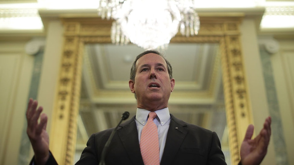 WASHINGTON, DC - SEPTEMBER 13: Former U.S. Sen. Rick Santorum (R-PA) speaks during a news conference on health care September 13, 2017 on Capitol Hill in Washington, DC. Senators Graham, Cassidy, Heller and Johnson unveiled a proposed legislation to repeal and replace the Obamacare. (Photo by Alex Wong/Getty Images)