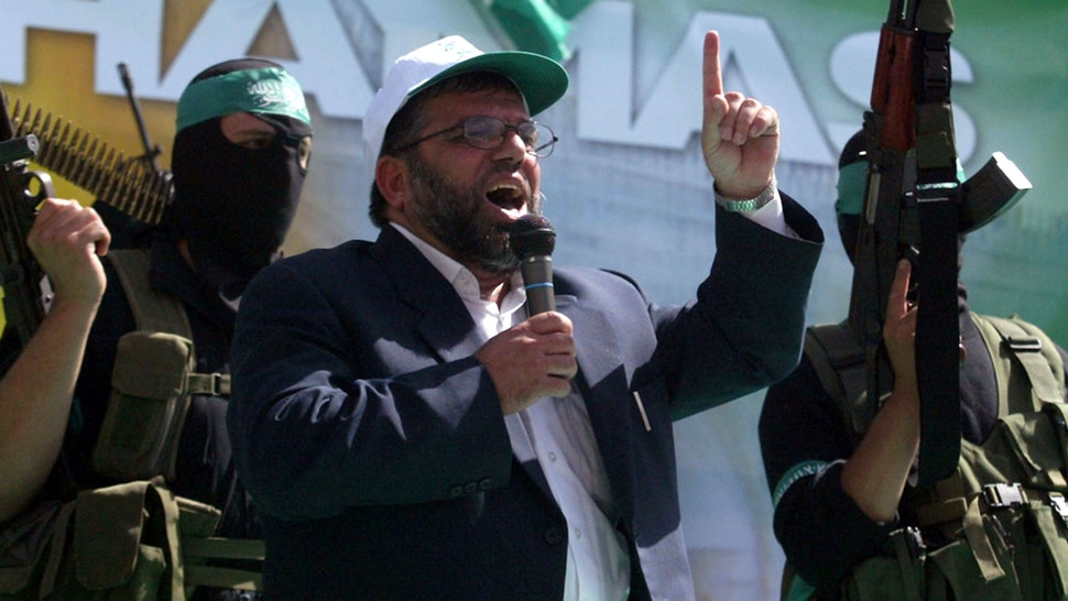 A picture taken in 2006 shows Sheikh Hassan Yousef, a Hamas founder, speaking during a rally for the movement in the West Bank city of Ramallah. An Israeli newspaper reported on February 24, 2006 that Mosab Hassan Yousef, 32, the son of Sheikh Yousef, was a key mole for Israeli intelligence inside the Islamist movement, helping thwart dozens of attacks.