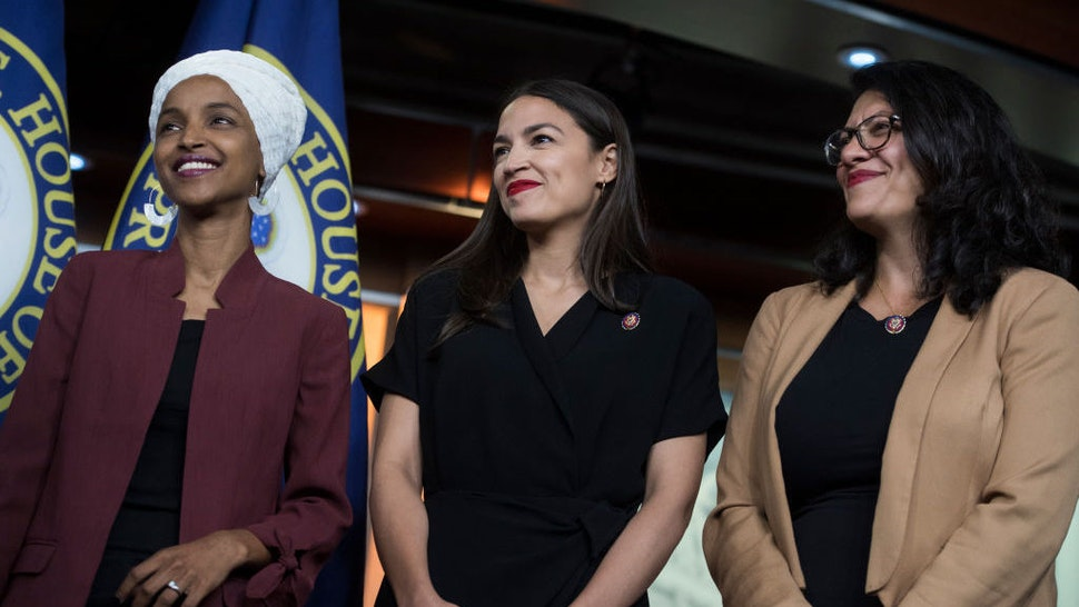 UNITED STATES - JULY 15: From left, Reps. Ilhan Omar, D-Minn., Alexandria Ocasio-Cortez, D-N.Y., and Rashida Tlaib, D-Mich., conduct a news conference in the Capitol Visitor Center responding to negative comments by President Trump that were directed at the freshman House Democrats on Monday, July 15, 2019. (Photo By Tom Williams/CQ Roll Call)