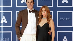 SYDNEY, AUSTRALIA - APRIL 26: Sacha Baron Cohen (L) and Isla Fisher attend a screening of the Oscars on Monday April 26, 2021 in Sydney, Australia.