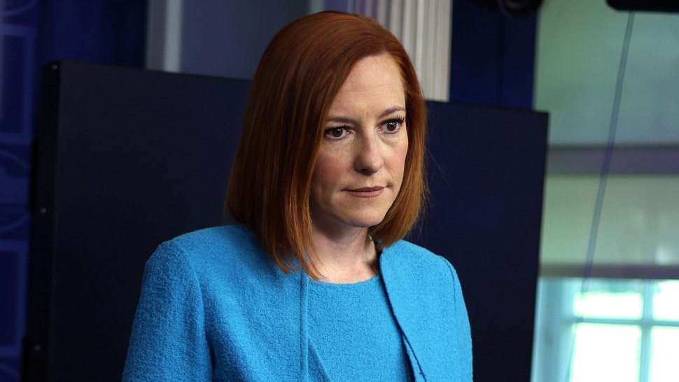WASHINGTON, DC - MAY 13: White House Press Secretary Jen Psaki listens during a daily press briefing at the James Brady Press Briefing Room of the White House May 13, 2021 in Washington, DC. Psaki held a daily news briefing to answer questions from members of the press.