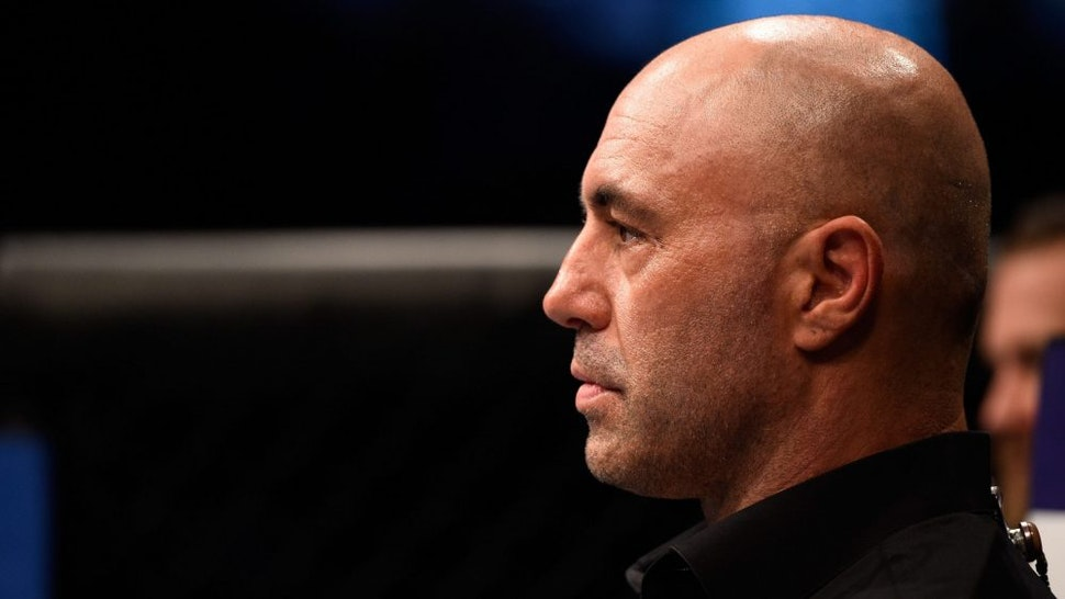 TAMPA, FL - APRIL 16: UFC Commentator Joe Rogan prepares to interview Michael Graves after submitting Randy Brown in their welterweight bout during the UFC Fight Night event at Amalie Arena on April 16, 2016 in Tampa, Florida.