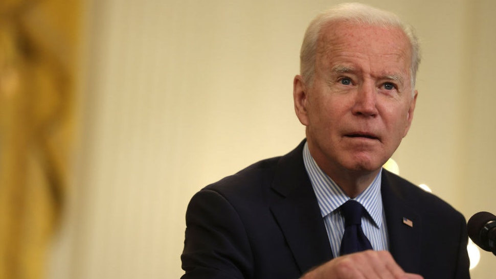 WASHINGTON, DC - MAY 07: U.S. President Joe Biden speaks on job numbers from April, 2021 at the East Room of the White House May 7, 2021 in Washington, DC. U.S. economy added 266,000 jobs in April, far less than the one million jobs that was expected. (Photo by Alex Wong/Getty Images)