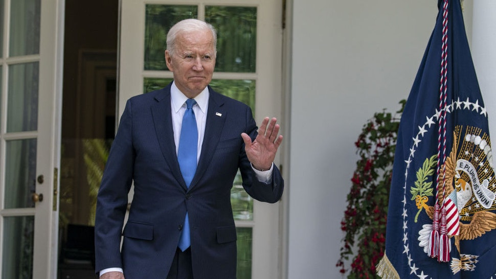 U.S. President Joe Biden arrives to speak in the Rose Garden of the White House in Washington, D.C., U.S., on Thursday, May 13, 2021. Fully vaccinated Americans can do away with wearing masks, the head of the U.S. Centers for Disease Control and Prevention said today, the most significant shift in federal guidelines since the start of the pandemic. Photographer: Tasos Katopidis/UPI/Bloomberg