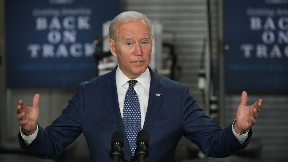 US President Joe Biden speaks on the American Jobs Plan, following a tour of Tidewater Community College in Norfolk, Virginia on May 3, 2021. (Photo by MANDEL NGAN / AFP) (Photo by MANDEL NGAN/AFP via Getty Images)