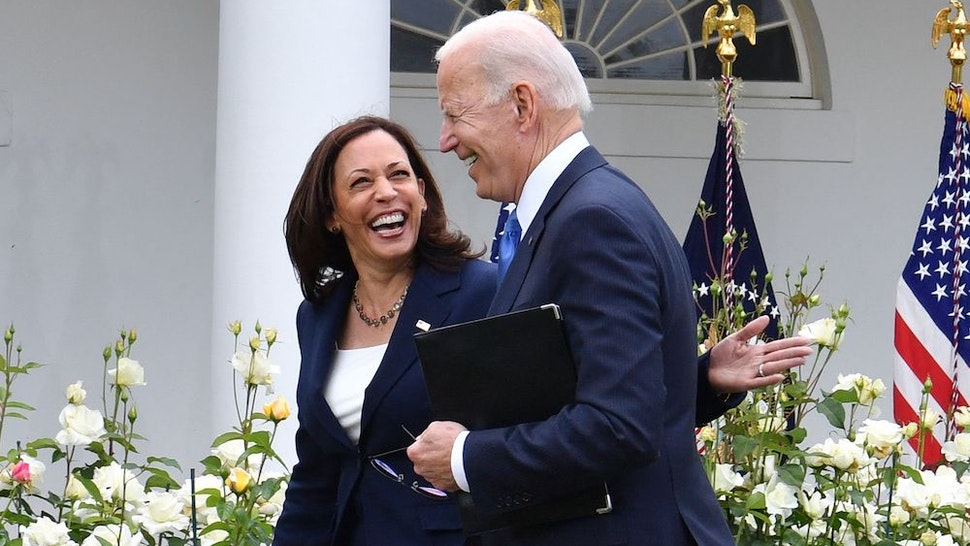 US Vice President Kamala Harris and US President Joe Biden leave after the President delivered remarks on Covid-19 response and the vaccination program, from the Rose Garden of the White House, Washington, DC on May 13, 2021. (Photo by Nicholas Kamm / AFP) (Photo by NICHOLAS KAMM/AFP via Getty Images)