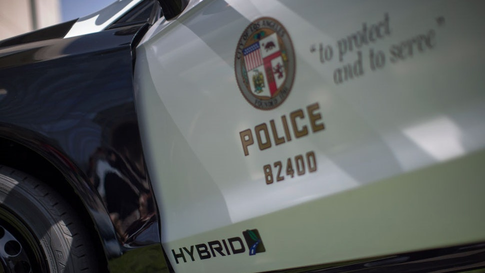 OS ANGELES, CA - APRIL 10: A hybrid police car is seen at the unveiling of two new Ford Fusion hybrid pursuit-rated Police Responder cars at Los Angeles Police Department headquarters on April 10, 2017 in Los Angeles, California.