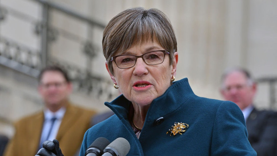 American politician Kansas Governor Laura Kelly delivers her inaugural speech from the front steps of the Kansas State Capitol building, Topeka, Kansas January 14, 2019. (Photo by Mark Reinstein/Corbis via Getty Images)