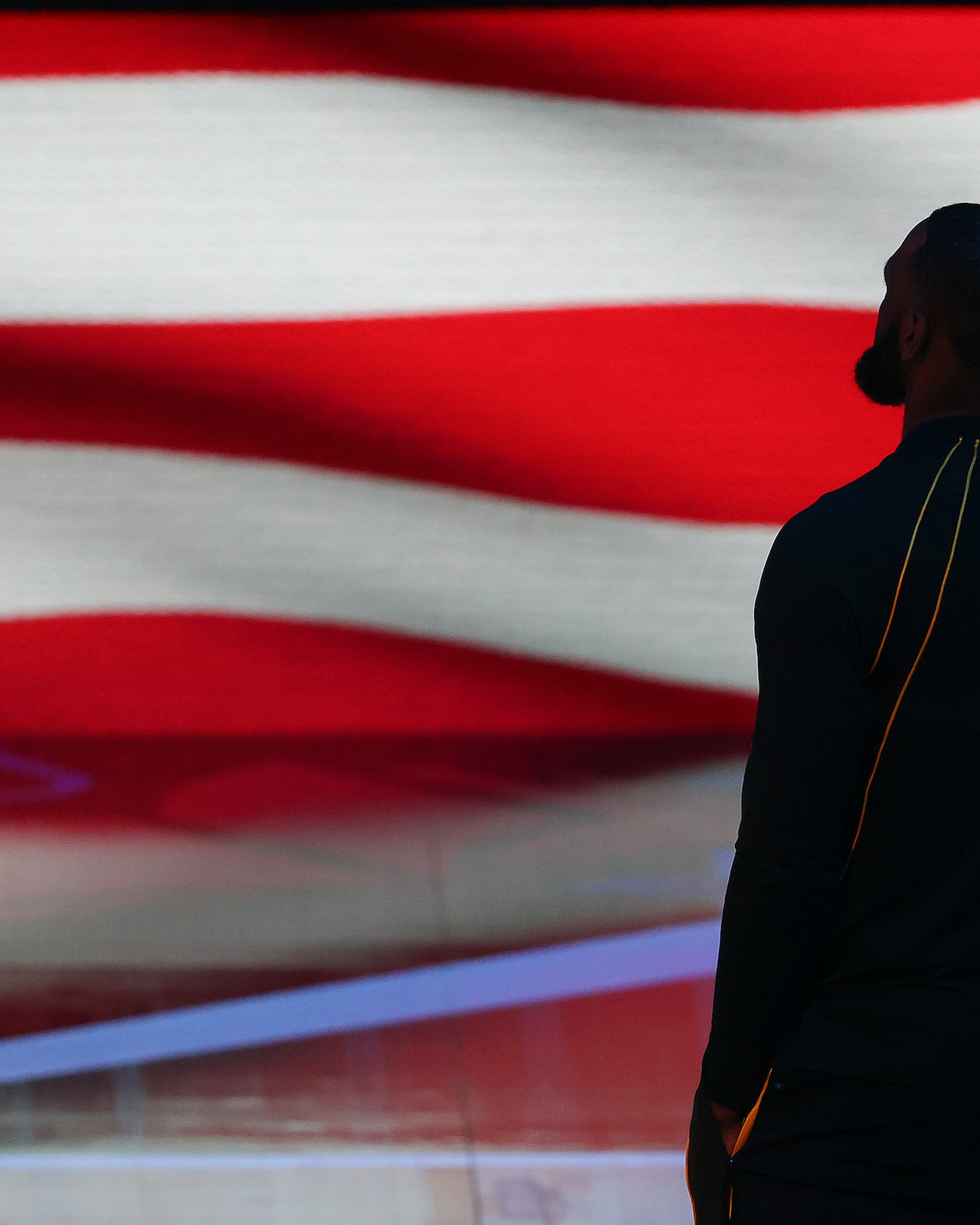 Lebron James #23 of Team LeBron stands for the national anthem prior to the 70th NBA All-Star Game at State Farm Arena on March 07, 2021 in Atlanta, Georgia. (Photo by Kevin C. Cox/Getty Images)