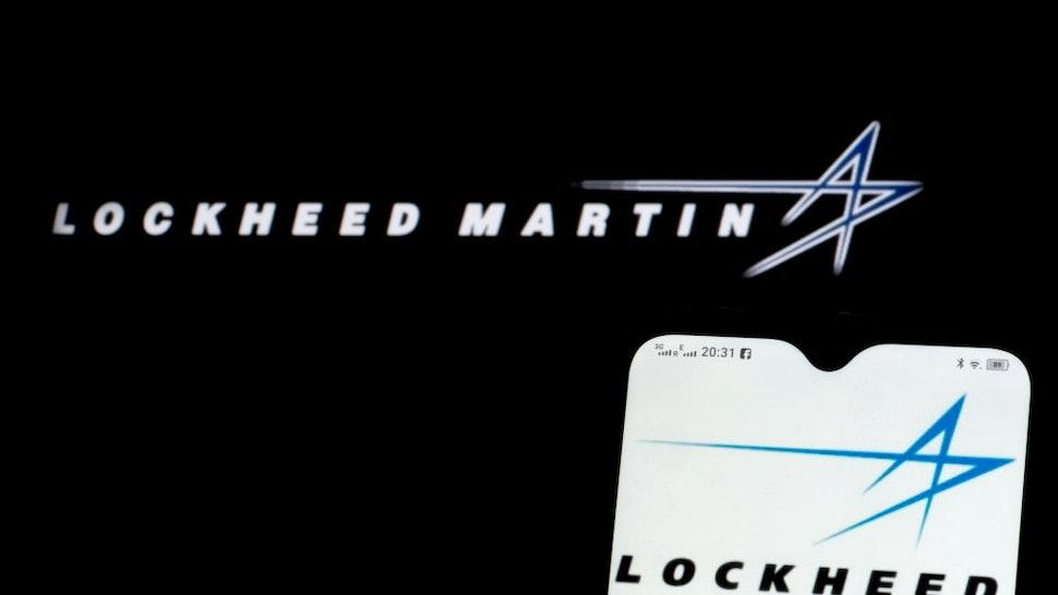UKRAINE - 2021/05/24: In this photo illustration Lockheed Martin Corporation logo seen displayed on a smartphone.