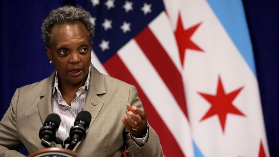 Mayor Lori Lightfoot speaks during a news conference at the Greater Western Community Development Project in Chicago on Monday, Sept. 14, 2020. (Antonio Perez/Chicago Tribune/TNS)