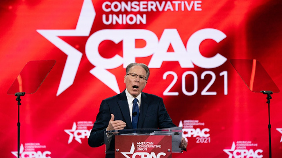 Wayne LaPierre, executive vice president and chief executive officer of the National Rifle Association, speaks during the Conservative Political Action Conference (CPAC) in Orlando, Florida, U.S., on Sunday, Feb. 28, 2021. The annual Conservative Political Action Conference concludes Sunday with a line-up of Trump administration veterans, media personalities and potential 2024 candidates in an event that cements former President Donald Trumps status as leader of the party.