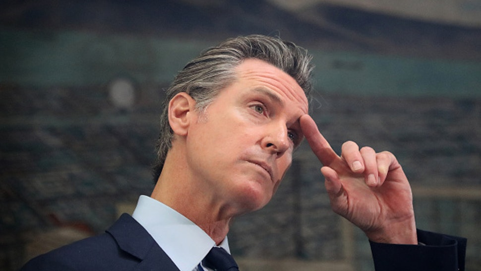 """OAKLAND , CA - AUGUST 10: OAKLAND, CA - MAY 10: California Governor Gavin Newsom is photographed during a press conference at The Unity Council on Monday, May 10, 2021, in Oakland, Calif. Newsom announced a $100 billion California Comeback Plan to aid in the state""""u2019s recovery."""