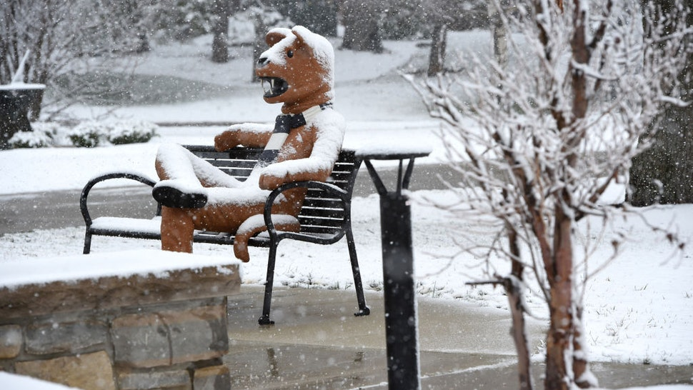 Snow covers the Nittany Lion on the Penn State Berks campus. BC Last Look RNP Enterprise SNOW Photo by Harold Hoch 3/10/17