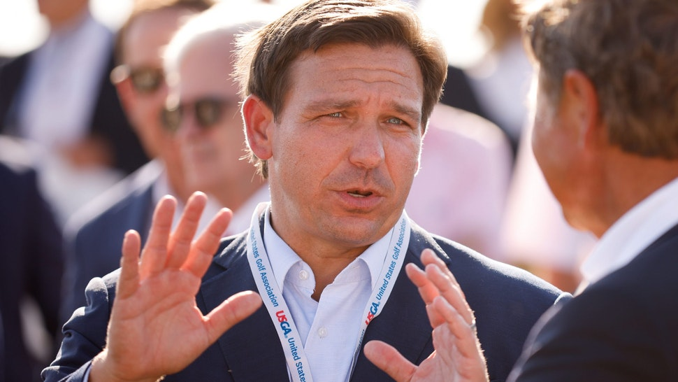 JUNO BEACH, FLORIDA - MAY 07: Florida Gov. Ron DeSantis attends the flag raising ceremony prior to The Walker Cup at Seminole Golf Club on May 07, 2021 in Juno Beach, Florida.